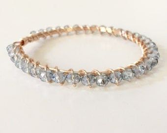 Gray Crystal Wire Wrapped Gold Bangle Bracelet