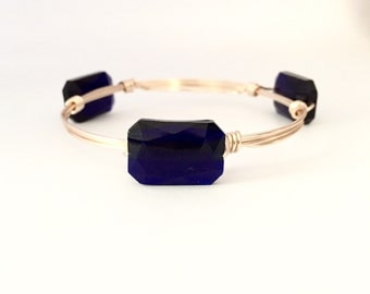 Dark Blue Crystal Wire Wrapped Bangle Bracelet