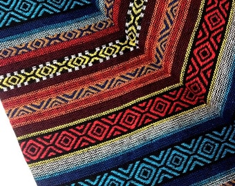 Thai Woven Fabric Tribal Fabric Native Fabric by the yard Ethnic fabric Aztec fabric Craft Supplies Woven Textile 1/2 yard Blue Red (WF18)