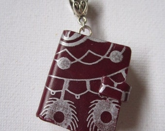 Maroon Book with Silver Pattern Pendant