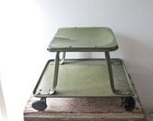 Vintage Mechanic Car Stool Plant Stand Vintage Army Green Wooden Step Stool Rolling Metal with Wheels Patina Rustic Decor Ratrod