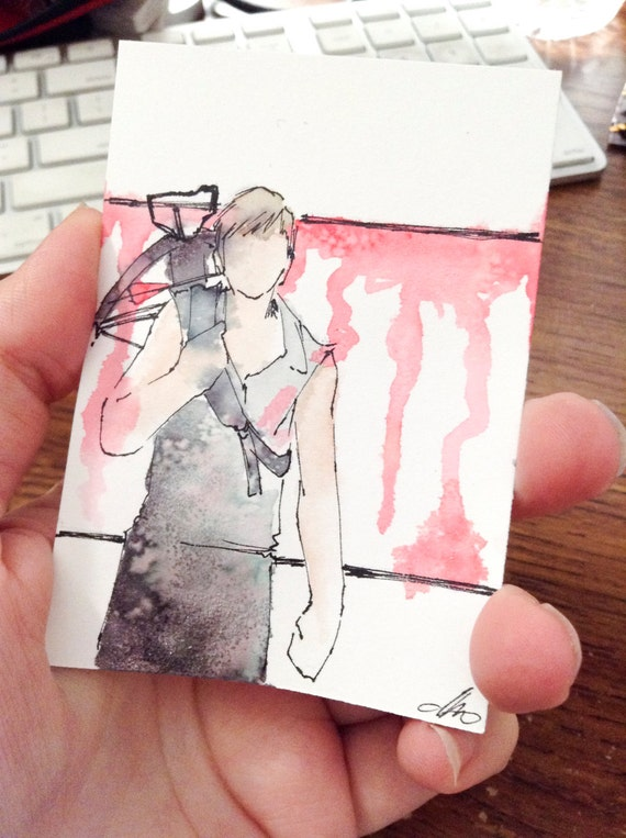 Dixon in Waiting, Walking Dead original Fan Art Watercolor, Salt, and pencil on Bristol ACEO Artist Trading Card