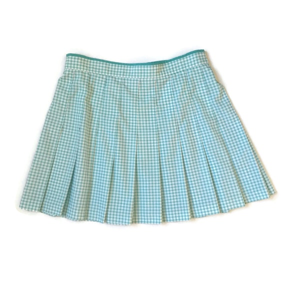 90s pastel checkerboard pleated skirt
