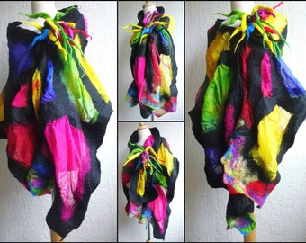 nuno felted scarf, wrap, handmade, silk, felted wool , art to wear, MADE TO ORDER, tiffany style,blue, multi colour