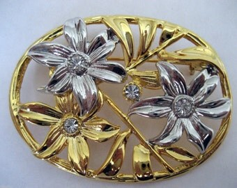 Vintage Art Nouveau Style Two-tone Flower Brooch