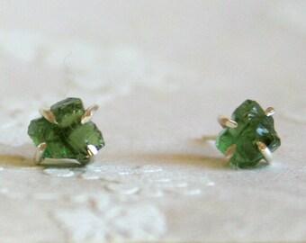 Grass - Raw uncut green apatite stud post earrings sterling silver
