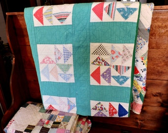 Vintage Flying Geese Quilt, 1940s Scrappy Feedsack Hand Quilted Collectible Patchwork Quilt, 75 x 57, Cottage Chic Home Decor itsyourcountry