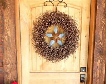 Primitive Rustic Wreath-Fall Door Wreath-Star Wreath-Primitive Door Wreath-LARGE Brown Berry Wreath-Primitive Country Decor-Texas Star Decor