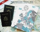 Europe Memory Box, Travel Box, Gift for Travelers, Custom travel box, Destination wedding box, Under 100, Valentines Gift Box