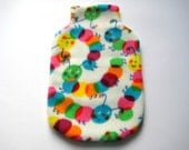 Hot Water Bottle Cover - Colourful Caterpillar print