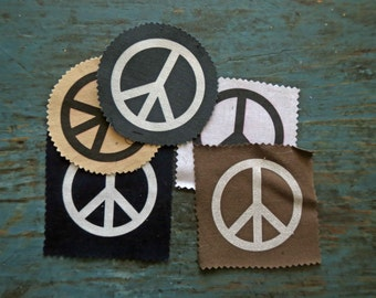 Fabric Patch Peace Sign Punk Attitude Sew on Cloth Patch