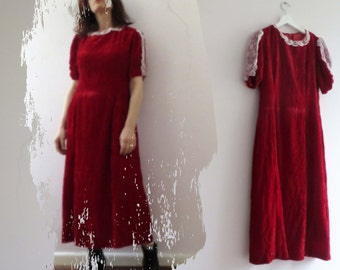 Vintage 70s Rasberry Red Velvet Dress Midi Lace Trim