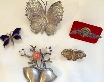 Vintage BUTTERFLY Brooch Pin EARRINGS Lot Filigree ENAMEL Silver Jewelry
