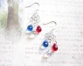 Red White Blue Czech Glass Teardrop Chandelier Earrings TCJG