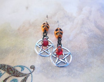 Orange Skull Silver Pentagram Red Teardrop Earrings TCJG
