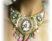 Bead embroidered statement necklace - OOAK - with lace and roses