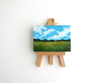 Miniature Field Painting with Easel