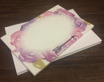 Note Cards - Watercolor Flowers and Arrow
