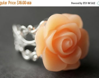 BACK to SCHOOL SALE Peach Rose Ring. Peach Flower Ring. Gold Ring. Silver Ring. Bronze Ring. Copper Ring. Adjustable Ring. Handmade Jewelry.