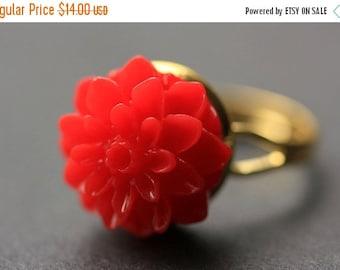 VALENTINE SALE Red Mum Flower Ring. Red Chrysanthemum Ring. Red Flower Ring. Adjustable Ring. Handmade Flower Jewelry.