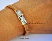Silver Buckle Cork Bracelet - Cork Bracelet with Silver Buckle