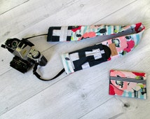 Camera Strap Cover and Memory Card Wallet Gift Set. Photographer Gift. Camera Strap with Lens Pockets.