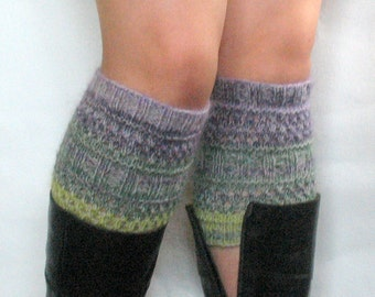 Boot Cuff Boot Toppers Leg Warmers Striped Gray Salad Purple Boot Socks Knit Legwarmers Cable Knitted