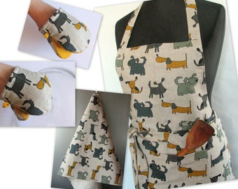 Linen Kitchen kit Utility Apron Womens Aprons for women Valentines Day Easter Apron Towels Oven Mit Dog