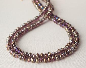 Purple Statement Necklace, Chunky Necklace, Multi Strand Necklace, Amethyst Crystal Necklace, Sparkle Necklace, Bling Necklace, Trending