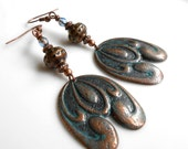 Blue Verdigris,Vintage Copper Ox Plated Brass,Stamping,Czech Glass,Lucite,Dangle Earrings,Gift For Her