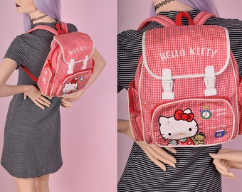 80s Hello Kitty Gingham Print Backpack/ 1980s/ Sanrio/ Vintage/ Rave/ Festival/ Summer/ Purse/ Bag