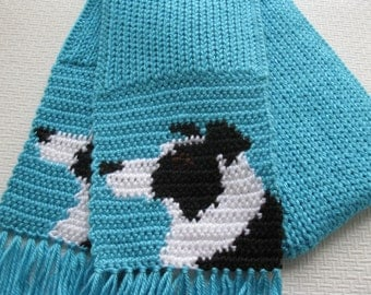 Border Collie Scarf. Turquoise knit and crochet scarf with black and white collie dogs. Knitted dog scarf