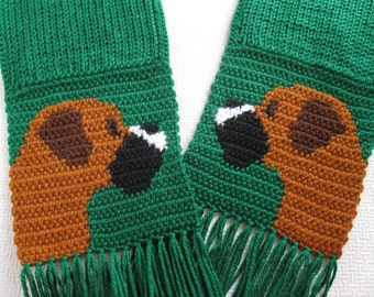 Green Boxer dog scarf. Emerald green, crochet scarf with boxer dogs. Knit boxer scarf