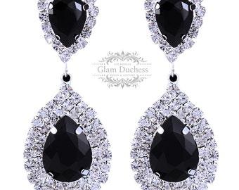 Bridesmaid earrings, Bridal earrings, Wedding jewelry, Teardrop earrings, Black crystal earrings, evening earrings, Victorian earrings