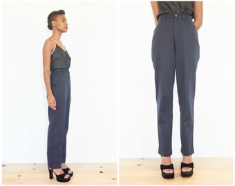 80s High Waist Navy Blue Cotton Trousers / Size Small