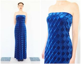 90s Electric Blue Velvet Strapless Gown / Tube Maxi Dress