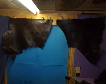 Two real pieces leather alligator embossed tanned hides craft supplies fur Buckskin handmade