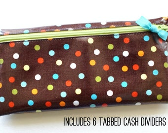 Polka dot cash envelope system wallet with 6 dividers | brown with red, blue, green, orange, white dots