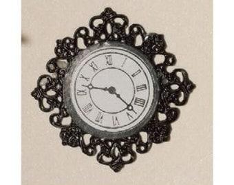 Dolls House Miniature Black Fancy Wall Clock