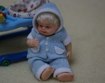 Dolls House Miniature Blonde Baby Boy Fits A4019