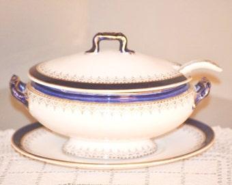 Antique Royal Doulton Belmont Lidded Sauce Tureen Ladle Underplate Set