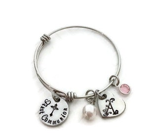 First Communion Adjustable Bangle - Little Girl's First Communion Jewelry - First Communion Gift Ideas for Girls - The Charmed Wife - Gifts