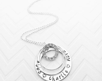 Stacked Rings Hand Stamped - Personalized Necklace - Custom Name Jewelry