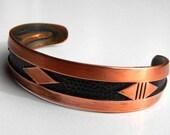 Vintage Copper Bracelet Native American Design and Style