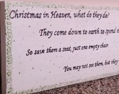 Christmas in Heaven poem Sign or Wall Hanging