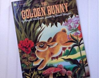 Vintage Golden Bunny book, Margaret Wise Brown 1981, Oversized Childrens Book, Golden Book Publishing, Leonard Wisegard, Animal Picture Book