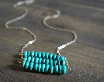 Layered Genuine Turquoise Necklace - Native American Inspired - Turquoise Rondelle Beads - Turquoise Bar Necklace