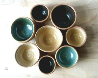 Tiny little Pottery Bowls / Stoneware Bowls /  Small Bowl / made to order