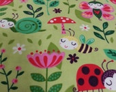 Lady Bug Fanasty Flower Bee Green Flannel Pillowcase Standard Handmade Arvilla RubyTM