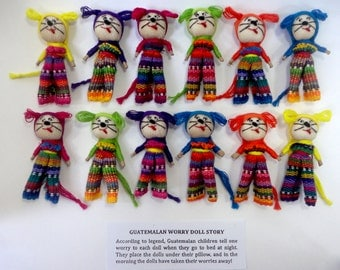 """12 Handmade 2"""" Worry Doll Dogs with Clothes  Best Quality made in Guatemala"""